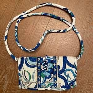 White and Blue Paisley Crossbody